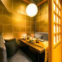 和を基調とした雰囲気の個室でゆったり愉しむご宴会