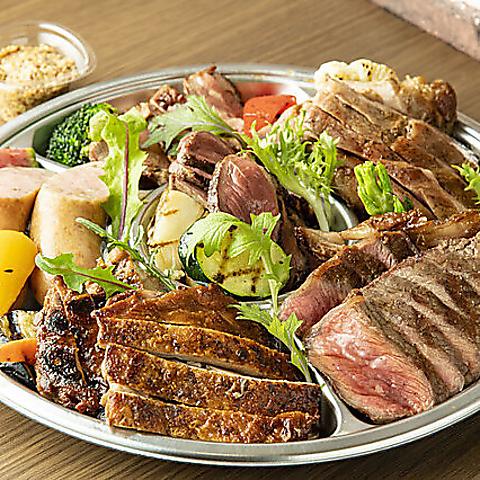 【テイクアウト◎】超★☆お得な肉盛り(4〜5名様用)※肉6種+焼野菜+自家製マスタード【5400円】
