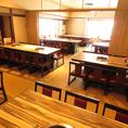 【落ち着いた空間】周りを気にせずお食事が楽しめるお席も御座います♪もちろん通常のテーブル席も御座いますのでわいわい楽しみながらのお食事も可能です!!各フロアに用途が分かれておりますので安心してご来店下さい♪フロア貸切で宴会も承り中。