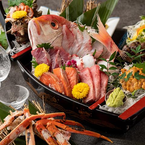 『大漁コース』豪華舟盛りや創作海鮮料理を堪能!3時間飲み放題付き【10品6000円→5000円】