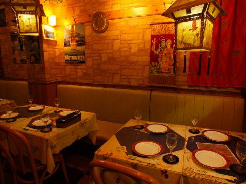 アジアのインテリアに囲まれてゆっくりと落ち着いた空間でおいしいインド料理を楽しんでください