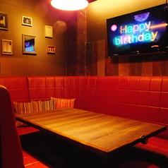 モニター付きのソファー個室で映像サプライズが出来ます♪誕生日、記念日、女子会、サプライズに♪