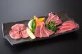料理メニュー写真4色盛り(ロース・カルビ・ハラミ)