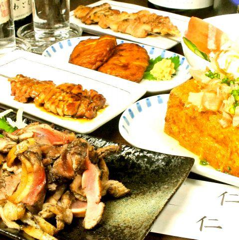 【仁まるごとコース】地鶏タタキ含5品&120分パーフェクトクラシック込飲放:4070円