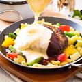 料理メニュー写真チーズフォンデュハンバーグ