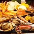 北海道から届いた新鮮な魚介たちは各お席にて炉端焼きでお楽しみ頂けます