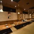 【渋谷駅1分の鶏料理が美味しい居酒屋】脚を伸ばしながらゆったりとお食事を楽しめる大人気の掘りごたつ(座敷)も完備しています。