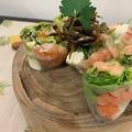 料理メニュー写真海老と生野菜がシャキシャキのフレッシュ生春巻き