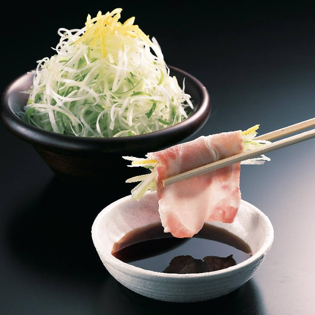オススメの逸品『ゆず葱』 軽く湯通ししてからお肉で巻いてどうぞ!