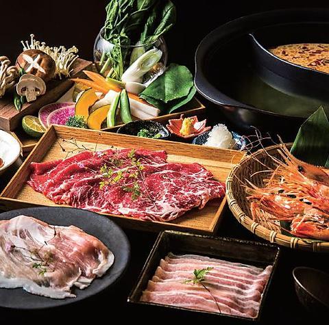 北海道の厳選された野菜・肉・魚介を使用したスープも選べるしゃぶしゃぶホットポット