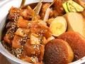 料理メニュー写真牛モツの串煮3本盛り~キャベツ煮付き/牛モツの串煮5本盛り~キャベツと玉子付き
