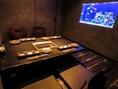 煌めく水槽付。5名様まで収容可能な掘り炬燵VIP個室です。