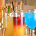 豊富な種類のカクテルは女性におすすめ!定番のカシスソーダはもちろん、オレンジブロッサムやレゲエパンチなど、色とりどりのカクテルを心ゆくまでお楽しみ下さい♪