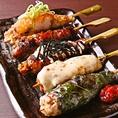 【つくね5種盛り】タレ/チーズ/テリマヨ/梅しそ/おろしポン酢と人気串を揃えました!