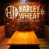 4名様用のテーブル席です。座敷などではないので靴を脱ぐ必要なく宴会、飲み会をお楽しみ頂けます。靴を脱がなくていいので女性にも人気のお席です。各種宴会はもちろん、女子会などにも是非ご活用ください。栄・矢場町で女子会なら肉バルbarley wheat!