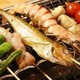 魚貝と野菜の串焼きもオススメです。