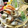 活貝網焼き盛り合わせ。その他全国より取り寄せる鮮度抜群の刺身・珍味・炉端焼き・串焼き・全国の日本酒。どれも食材や調理法にこだわっております。オススメは水槽から取り出した【活貝】を備長炭でじっくり焼き上げる新鮮な活貝!