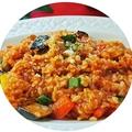 料理メニュー写真かわいい野菜達のトマトリゾット