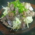 料理メニュー写真親鶏と砂ズリのゴリゴリ岩塩焼き/もも肉の唐揚げ香味ダレ