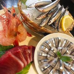 料理メニュー写真地魚盛り合わせ キビナゴ、タカエビ、カツオ