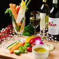 料理メニュー写真彩り野菜の鉄板焼きバーニャカウダ