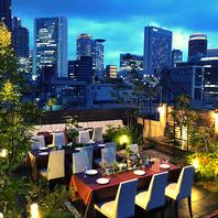 夜景がキレイな開放感の溢れる屋上ガーデンテラス
