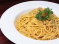 コースの〆には贅沢にウニを使ったクリームパスタ☆パスタも食材にこだわり、麦粉デュラムセモリナの生パスタです!