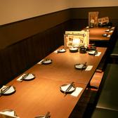お店の一角にあるパーティースペースのロングテーブルは最大14名様まで♪