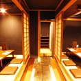 両側には14様にてご利用頂ける完全個室の掘りごたつ席をご準備しております。