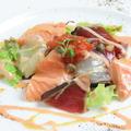 料理メニュー写真彩りお魚のカルパッチョ~トリュフオイルかけ~
