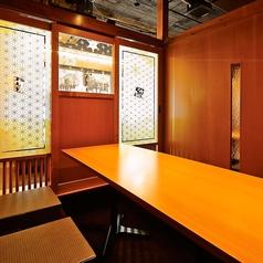 3階のお部屋は和柄に彩られた個室感のあるプライベート個室。居心地も抜群です。大人気の掘りごたつ個室でプライベート利用も◎テーブルを連結すれば、最大70名様までの大人数宴会のご利用も可能です。