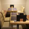 【テーブル席】半個室テーブル席をご用意しております。女子会や接待などにもご利用下さい。お隣のテーブルと合わせて4名様~8名様までお席のご用意が出来ます。