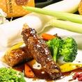 【人気料理NO1】マコモダケの和牛巻き-バルサミコソース-