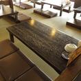 6名様掛けテーブル3席あります。座敷席なのでお子様連れのお客様も比較的に安心してお過ごし頂けます。また、畳の温かい空間は落ち着いてお食事を楽しみたいお客様にもおすすめです。