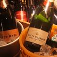 ボトルワインやシャンパンも豊富に取り揃え