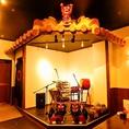 沖縄の守り神!たくさんのシーサーがお出迎えしてくれる店内。