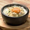 料理メニュー写真白老町地黄卵の石焼きカルボナーラリゾット