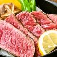 【本日の特撰牛のステーキ】希少部位のステーキです。居酒屋だからとあなどるなかれ、本気メニューです。