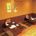 お座敷席4名×3卓。広々&ゆったり寛ぎ空間