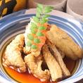 【岡山居酒屋×たつ屋】アナゴの揚げ出し。アナゴのおいしさがたっぷりつまった揚げ出しです!お出汁に脂の甘みが加わりとても美味!是非◎