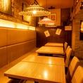 【片側ソファ席/1~17名様】少人数~中人数でのご利用にレイアウト自由なテーブル席