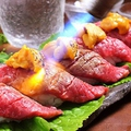 料理メニュー写真黒毛和牛の炙りうに肉寿司