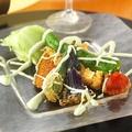 料理メニュー写真万願寺唐辛子真女射込み、季節の色取り野菜