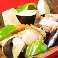 鶏&ホタテとごろごろ野菜のネギたれ焼き