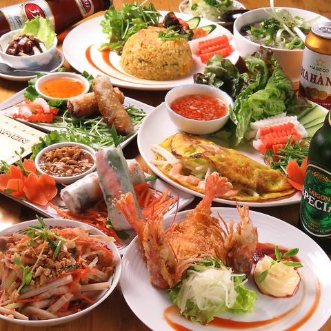 【歓送迎会◎】本格ベトナム料理 『宴コース』|コーン海老炒め・海鮮サラダ・フォーなど2980円