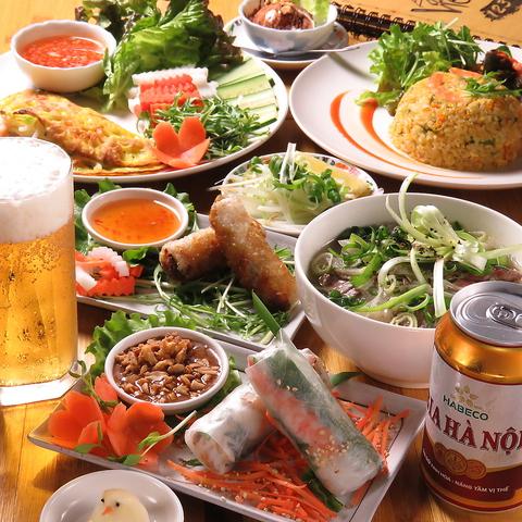【2j時間飲放付】お手頃価格でベトナム料理 『花コース』|春巻・パインセオ・フォーなど3260円