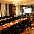 宴会パーティーに組み合わせ自由なテーブル96席。着席で60名様前後で収容可。