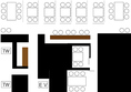 店内の見取り図はこちら、移動可能なテーブル席があり最大32名まで入店が可能です。完全個室が2部屋完備