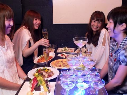 女子会・誕生日・貸切Partyの人気店♪お祝いにプチシャンパンタワー★40名様まで