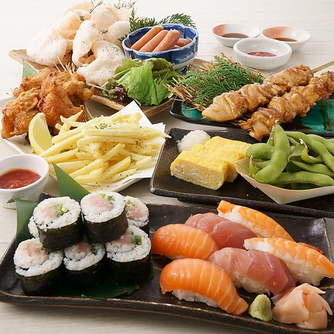 <お料理のみ/飲放別>【パーティセット】ジャンボ焼鳥&寿司など【1セット(2〜3人前)3000円】